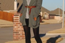 With striped shirt, gray cardigan, black shorts, black tights and brown lace up boots