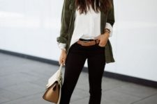 With white button down shirt, black cropped pants, gray suede ankle boots, olive green cardigan and bag