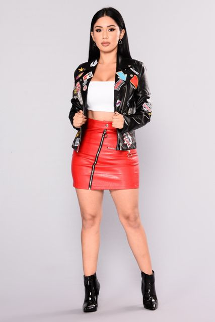 a stylish way to rock patent leather boots and a leather skirt