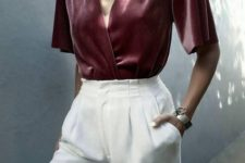 With white high-waisted trousers