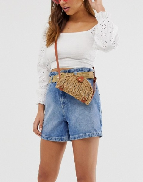 With white lace crop blouse and denim high waisted shorts