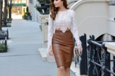 With white lace crop blouse, clutch and beige pumps