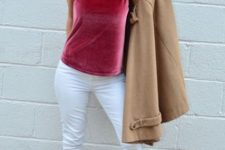 With white pants, beige coat and brown leather ankle boots