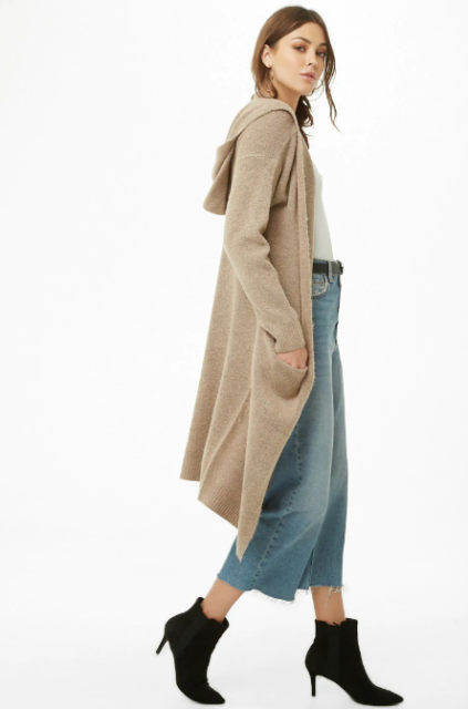 With white shirt, denim culottes and black kitten heel boots