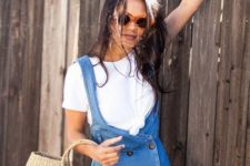 With white t-shirt and denim dress