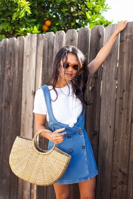 With white t shirt and denim dress