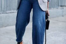 With yellow sweater, printed blazer, denim culottes and black bag