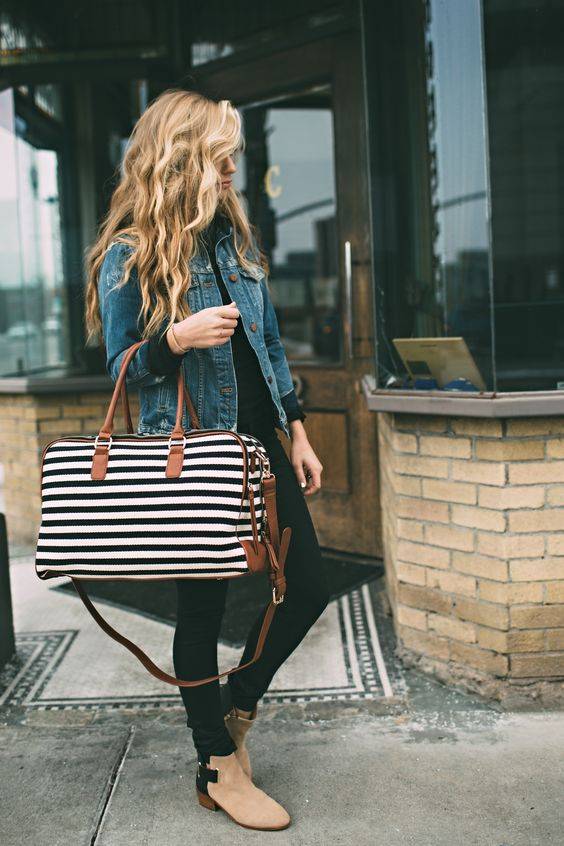 a small striped weekender bag is a great solution if you don't need many things with you
