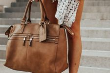 a small yet very stylish amber leather weekender bag is a chic idea to rock for travelling