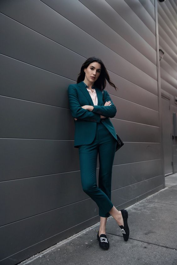 cool teal pantsuit outfit for work