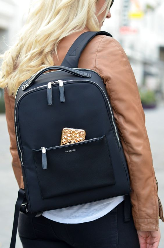 such a stylish black backpack will allow to accommodate a lot and even a small laptop if needed