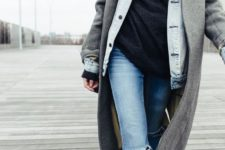 02 a black turtleneck, a denim jacket, ripped jeans, a grey coat for a comfortable fall to winter look