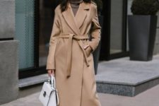 02 a camel robe coat with hidden pockets and of a midi length is a timeless option for fall and winter