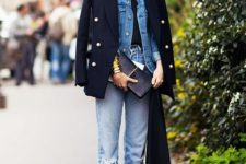 03 a black tee, blue jeans, a blue denim jacket, a short black coat over for a bold look