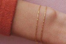03 a dainty double gold chain bracelet is a stylish minimalist idea for a modern girl