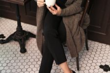 05 a black shirt, cropped pants, a cozy long brown cardigan and black loafers for a comfy outfit
