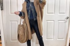 05 a casual look with black leather pants, a blue sweater, a blue denim jacket, a camel coat, a wicker bag and sneakers