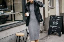 05 a grey sweater dress, black sneakers and an oversized black leather jacket for a casual look