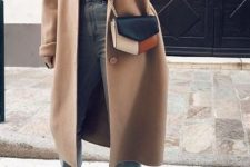06 a black turtleneck, bleached cropped jeans, black loafers, a camel coat and a color block bag