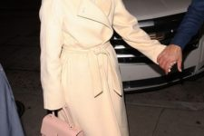06 a creamy robe coat with a classic collar by J Lo is a stunning idea that never goes out of style