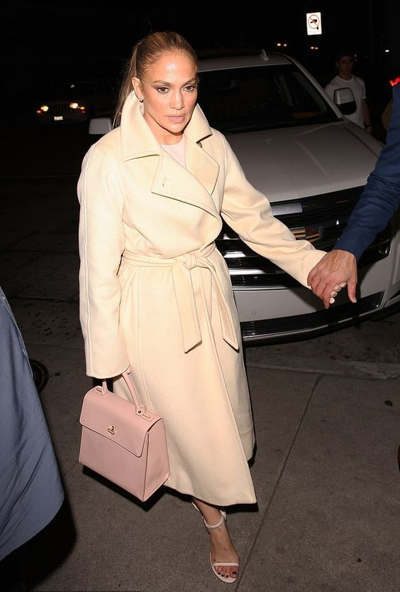 a creamy robe coat with a classic collar by J Lo is a stunning idea that never goes out of style