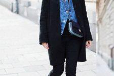 07 black jeans with a raw hem, black loafers, a blakc tee, a blue denim jacket, a black coat and a black bag
