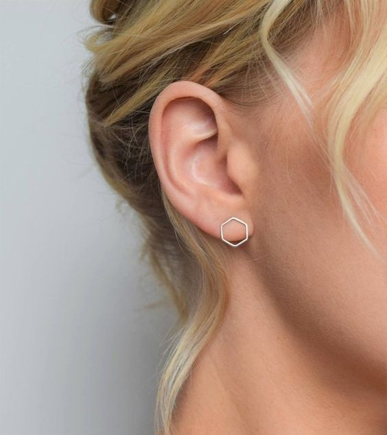 minimalist hexagon stud earrings for making a stylish minimalist statement