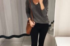 09 a grey cashmere sweater, black skinnies, animal print loafers and a brown bag for the fall