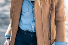 10 navy skinnies, a striped top, a denim jacket, a camel coat with a zip and a matching bag for a casual look