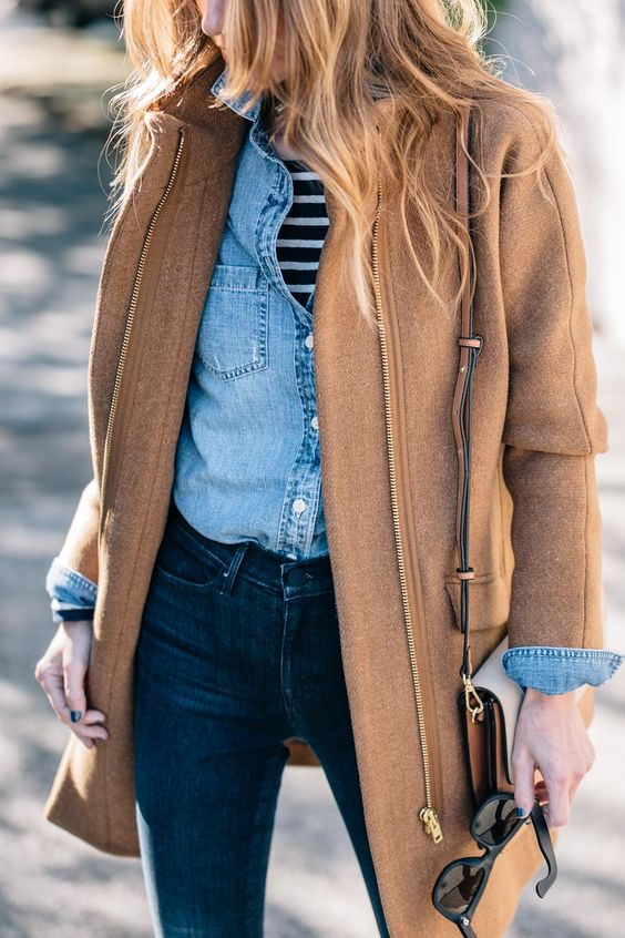 navy skinnies, a striped top, a denim jacket, a camel coat with a zip and a matching bag for a casual look