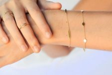 10 two minimalist chain bracelets with gold bars and little coins will make your look chic and delicate