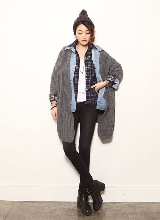 a comfy and relaxed look with black skinnies, a white tee, a checked shirt, a denim jacket, a grey cardigan and a beanie