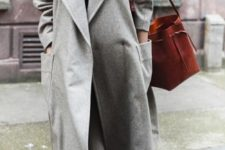 11 a straight grey oversized coat with pockets is a real winter and fall wardrobe staple