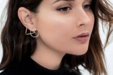 12 a gorgeous geometric earring of a circle and a triangle is a stylish idea to accesorize your look