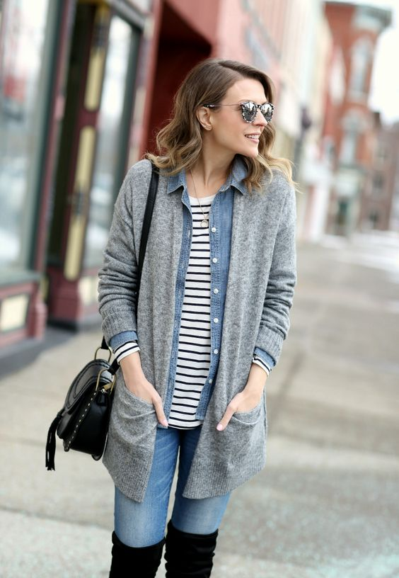 a striped tee, a denim jacket, blue jeans, a long grey cardigan and a black bag for a stylish basic look