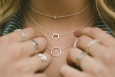 12 layered chokers and necklaces with circles and a bead are great for being in trend