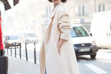 13 a creamy straight coat is ideal for a chic outfit in the fall or winter, for casual and refined looks