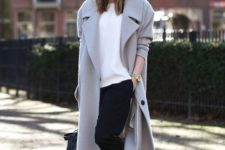 14 a grey straight midi coat is great for creating casual and minimalist looks for the fall and winter