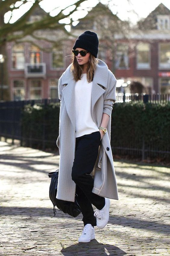 a grey straight midi coat is great for creating casual and minimalist looks for the fall and winter