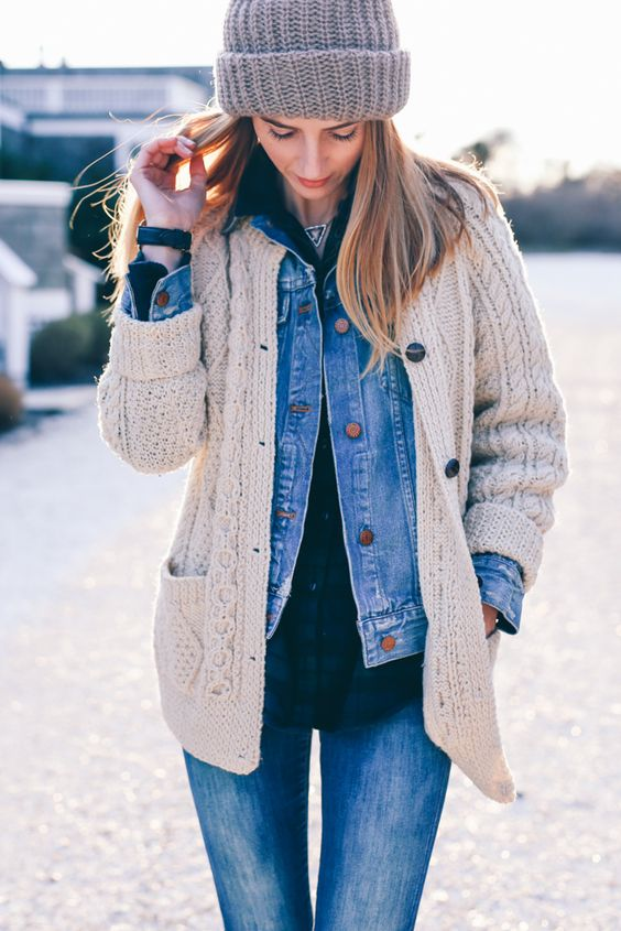 blue jeans, a plaid shirt, a blue denim jacket, a grey cardigan, a beanie for a relaxed weekened look