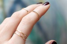14 stacked gold rings for various parts of your fingers is a chic and veyr subtle idea for every girl