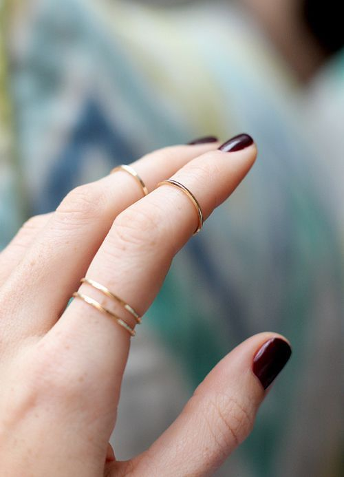 stacked gold rings for various parts of your fingers is a chic and veyr subtle idea for every girl
