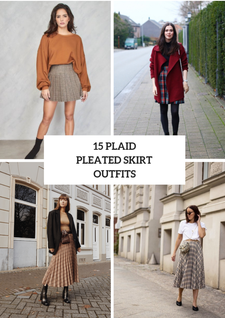 Outfits With Plaid Pleated Skirts
