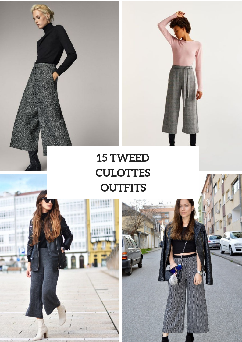 Tweed Culottes Outfits For This Season