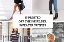 15 Wonderful Outfits With Printed Off The Shoulder Sweaters