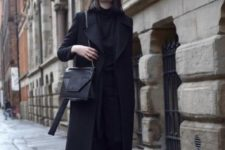 15 a total black look with a straight midi coat is your fall or winter option for everyday or for work