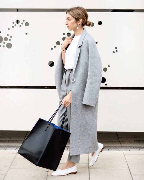 a minimalist straight grey coat with no pockets is always a good idea for cold weather