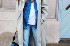 16 blue jeans, a white tee, a blue denim jacket, an olive green trench, bow heels and a small bag