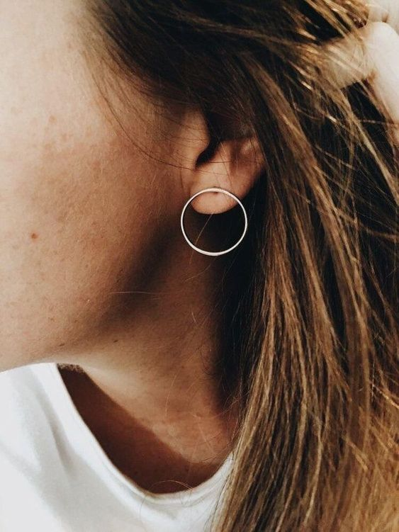 minimalist hoop earrings that are non-traditional hoops look very up-to-date