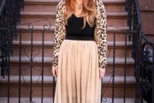 With airy skirt, wide brim hat, platform shoes and black top